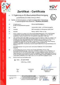 AMO GmbH ATEX-Zertifikat